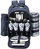 VonShef - 4 Person Blue Tartan Picnic Backpack With Cooler Compartment, Detachable Bottle/Wine Holder, Fleece Blanket, Tableware and Plates