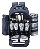 Search : VonShef - 4 Person Blue Tartan Picnic Backpack With Cooler Compartment, Detachable Bottle/Wine Holder, Fleece Blanket, Tableware and Plates