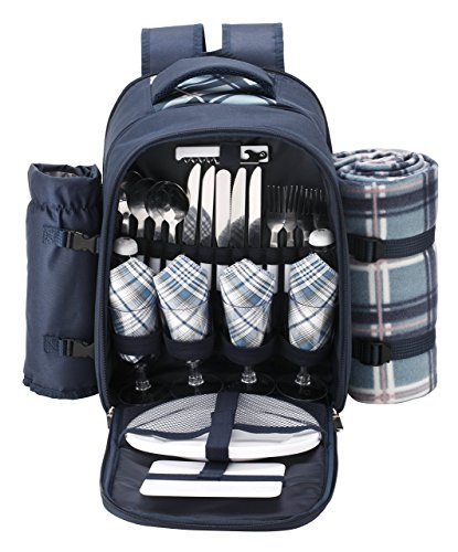 VonShef – 4 Person Blue Tartan Picnic Backpack With Cooler Compartment, Detachable Bottle/Wine Holder, Fleece Blanket, Flatware and Plates