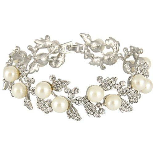 EVER FAITH Bridal Silver-Tone Ivory-color Simulated Pearl Flower Leaf Clear Aust…
