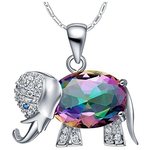 knsam damen platin plattiert kette halskette elefant w hrend bunte crystal zirkonia neuheit. Black Bedroom Furniture Sets. Home Design Ideas