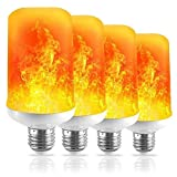 LED Flame Effect Light Bulb 7W - E26 Standard Base 4 Modes Simulated Realistic Burning Fire Light for Home/Outdoor/Hotel/Bar/Party Especially in Festivals, Birthday, Halloween, Christmas(4 Pack) (Color: White, Tamaño: 4 Pack)