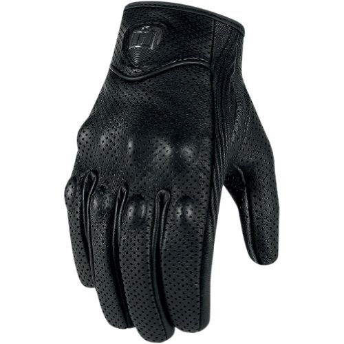 Icon Pursuit Touchscreen Perforated Men's Leather Streetbike Racing Motorcycle Gloves - Black / Medium