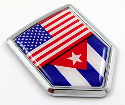 USA Cuba American Cuban Flag Car Chrome Emblem Decal Sticker w/ Adhesive (Productos Car Wash compare prices)