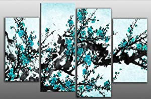 "Large plum blossom painting Turquoise Blue Chinese canvas artwork 4 pieces multi panel split canvas completely ready to hang hanging cord attached, hanging template included hand made printed to order UK company 38"" width 28"" height"