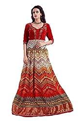 Clickedia Women Digital Printed With Zardosiwork Red Kali Semi Stitched Gown