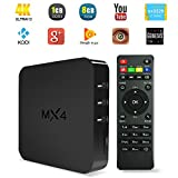 YUNTAB MX4 TV Box 4K TV Box Android 4.4 Quad Core 1.5GHZ Rockchip 3229 Multimedia Streaming Player H.265 8GB FLASH 1GB DDR3 Wifi Bluetooth Support HDMI 2.0 4Kx2K Tv Box Netflix Hulu Flixster Youtube