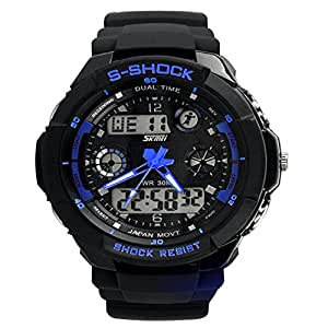 Nimble House S SHOCK Blue color Watch Sport Quartz dual time digital analog Waterproof Military Wristwatches LED Relogio Masculino