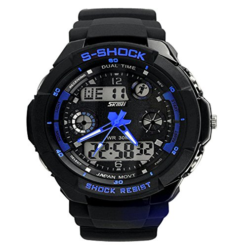 Nimble House Smart sense UNISEX Blue color Watch Sports Quartz dual time digital analog Waterproof Military Wristwatches LED Relogio Masculino