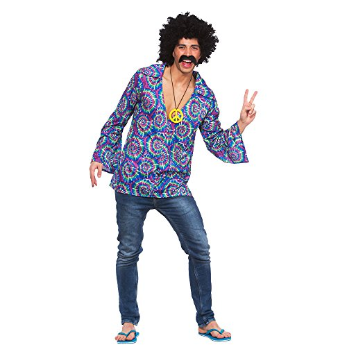 (XL) X Large Mens Funky Hippie Shirt Costume for 60s