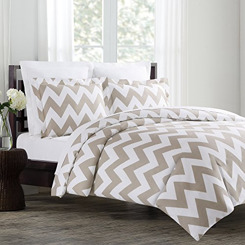 все цены на  Echelon Home Chevron Duvet Cover Set, Full/Queen, Taupe  онлайн