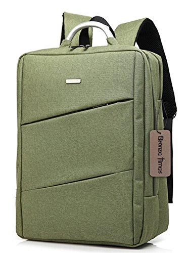 Bronze Times (TM) 15.6 inch Premium Water Resistant Canvas Laptop Briefcase Travel Backpack (C-Green)