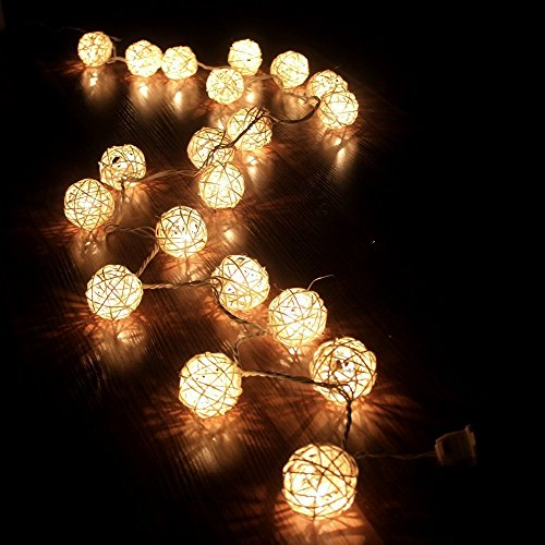 Storm Cream White Rattan Ball Fairy Lights - Ideal Wedding, Christmas & Party String Lights front-117207