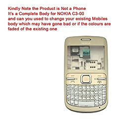 Replacment HIGH QUALITY Full body HOUSING PANEL FASCIA BODY FACEPLATE FOR NOKIA C3-00 GOLDEN-WHITE