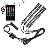 Adecorty Car LED Strip Light,  4pcs 48 LED DC 12V Multicolor Music Car Interior Light LED Under Dash Lighting Kit with Sound Active Function and Wireless Remote Control, Car Charger Included