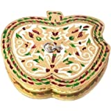 JaipurCrafts Apple Shaped Aluminium, Wooden Decorative Platter (Multicolor)