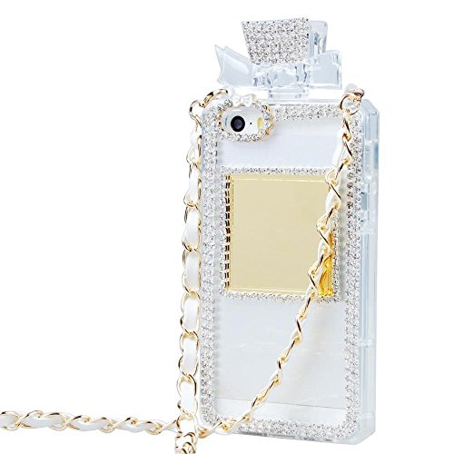 Bling Bling Set Auger Crystal Perfume Bottle Shaped With Chain Handbag Telephone Case Cover Bowknot Style Design For Iphone 5 Color White