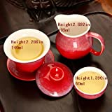 Yazilind Fabulous Chinese Red Delicate 3Pcs Porcelain Tea Set 1-Teapot And 2-Teacup