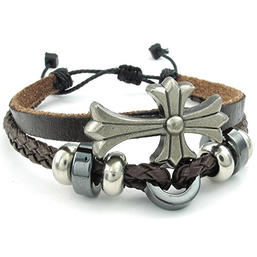 Konov Jewelry Mens Womens Leather Bracelet, Cross Charms 7-9 Inch Adjustable Cuff Bangle, Brown