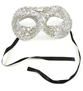 Mask It 71069 Silver Bead/Glitter Half Mask from Midwest Design Imports, Inc.