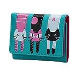 Wallet,Sumen Cat Pattern Coin Purse Short Wallet Card Holders Handbag (Blue)