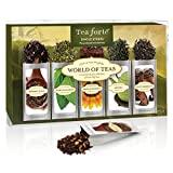 Tea Forte WORLD OF TEAS Sing Steeps Loose Leaf Tea Sampler, 15 Single Serve Pouches - Green Tea, Herbal Tea, Black Tea