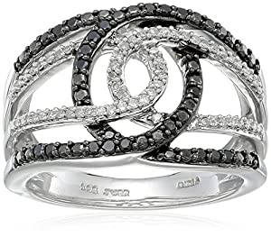 Sterling Silver Black and White Diamond Ring (1/3cttw, I-J Color, I2-I3 Clarity), Size 7