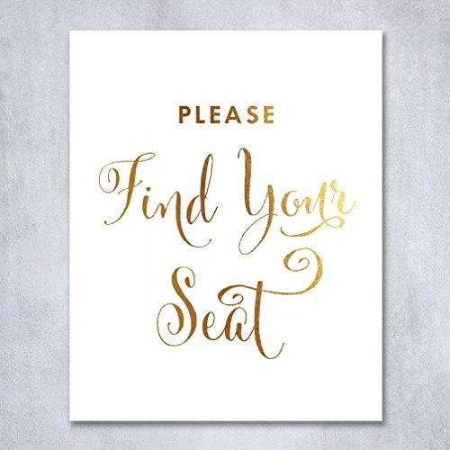 Find Your Seat Gold Foil Wedding Sign Reception Signage Please Find Your Seat Seating Chart Escort Card Place Card Placecards