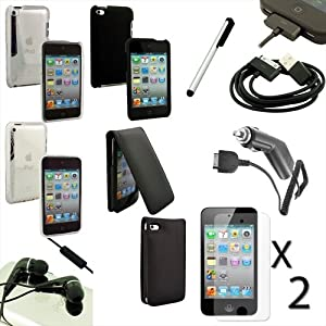 Apple iPod Touch 4th Gen 4G 10pc Accessory Case Charger Headphone Bundle