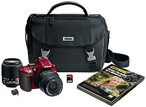 Nikon D5200 Digital SLR with 18-55mm & 55-200mm Non-VR Lenses (Red)