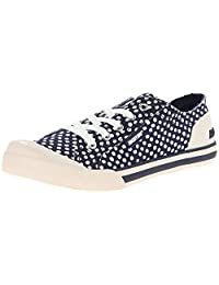 Rocket Dog Jazzin Navy White Spot Womens Lace Up Canvas Trainers Shoes