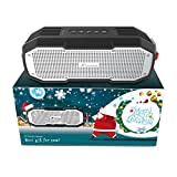 Best Gift, Honstek K9 Portable Bluetooth Speakers Waterproof IPX7 DSP Stereo Bass with Dual Drivers 16 Hours Playtime for iPhone, Sports, Camping, Hiking, Traveling, Party (Black)