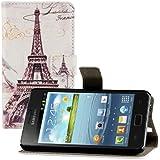 kwmobile® Funda chic de cuero para el Samsung Galaxy S2 i9100 / S2 PLUS i9105 con una práctica función de soporte - ¡MOTIVO Diseño de ciudades (París) (Blanco Negro)!