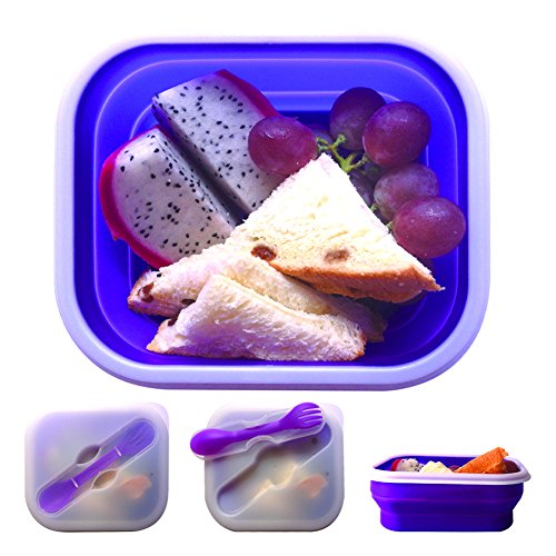 Generic Silicon Folding Portable Lunchbox Color Purple-By Sistel Retail Packing