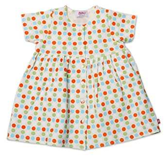Zutano Baby-girls Infant Sunset Dots Organic Short Sleeve Dress, Orange, 6 Months