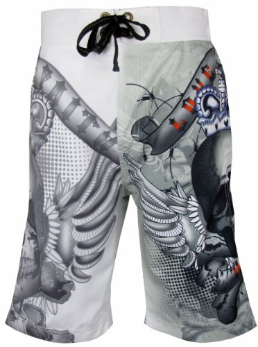 Mens Shorts Swim Surf Board Skull Print Optic White