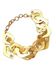 21.40 Grams Genuine White Topaz Gold Plated Brass Bracelet