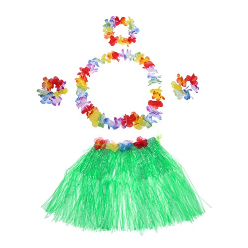 Anself 6pcs Child Hawaii Hula Skirt Set Grass Skirts