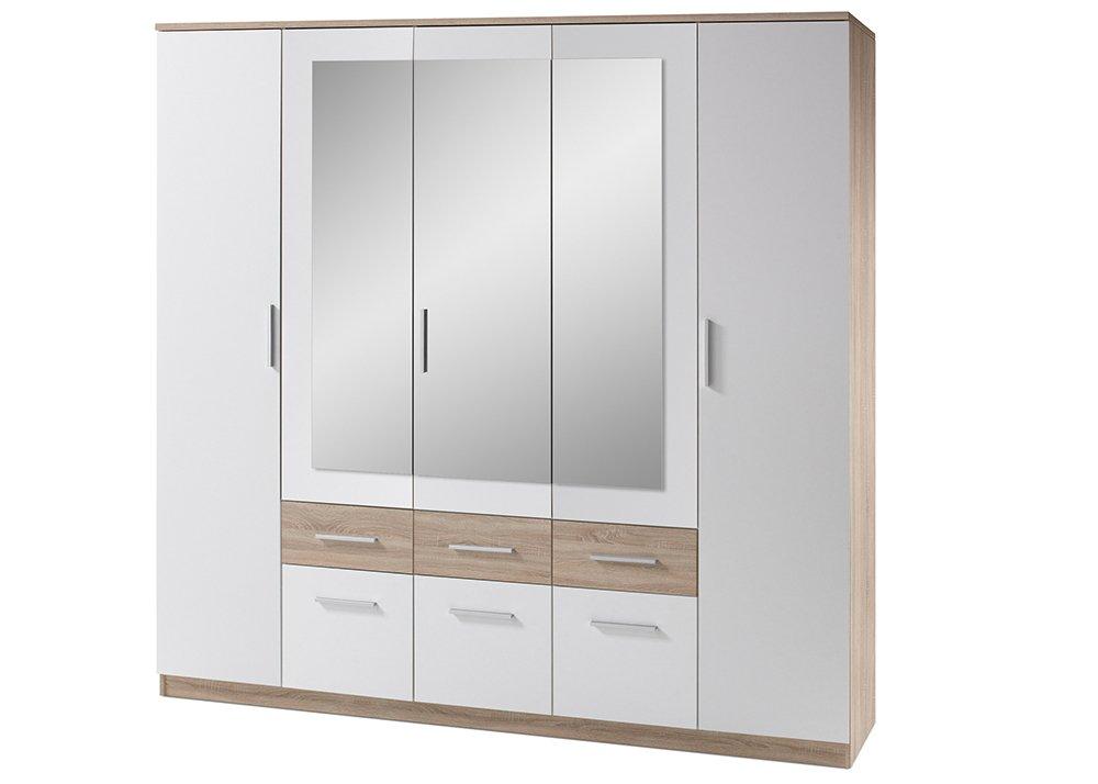 Jumbo-Möbel Kleiderschrank BOX in Weiß mit Absetz. in Eiche Sonoma günstig online kaufen
