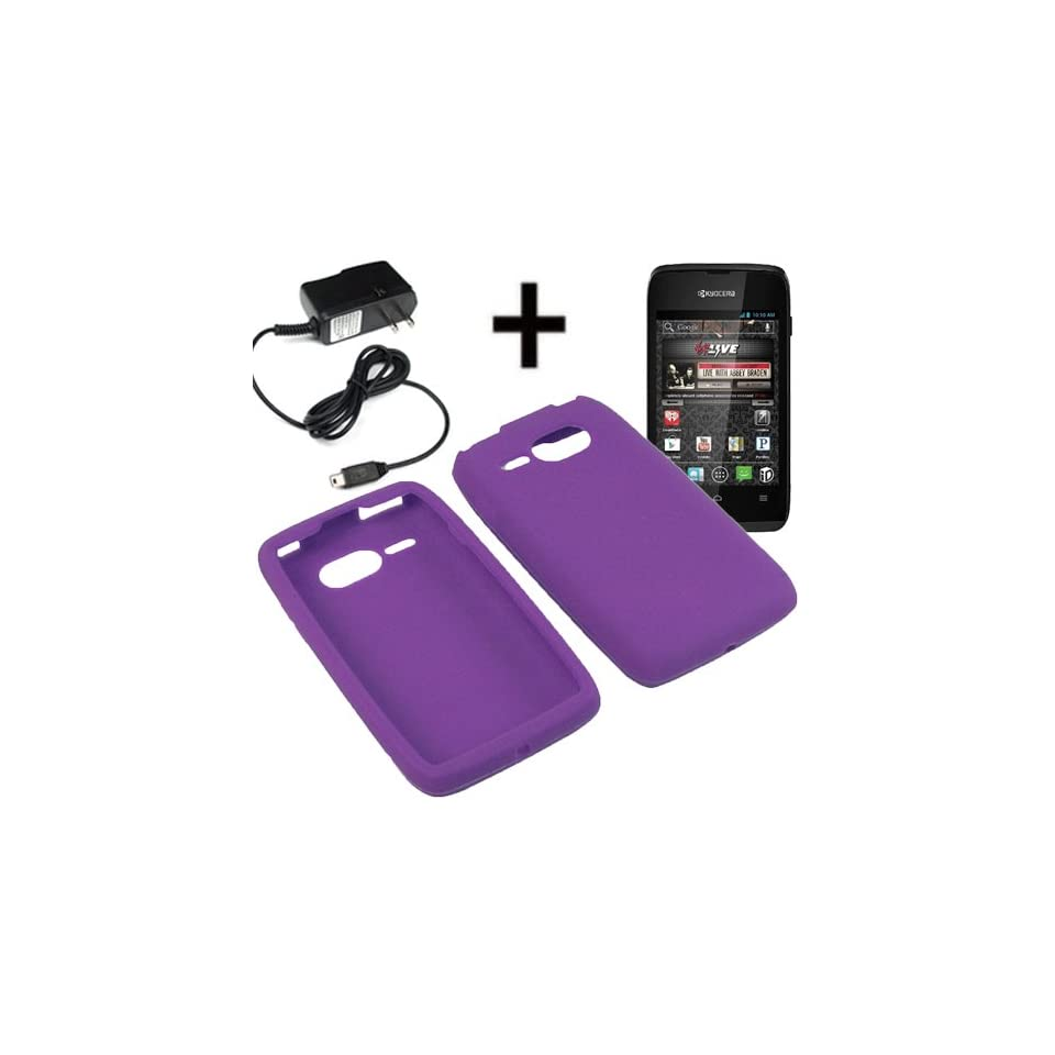 AM Silicone Sleeve Gel Cover Skin Case for Virgin Mobile Kyocera Event C5133 + Travel Charger Purple