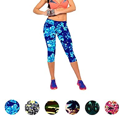 Shensee Compact High Waist Fitness Yoga Sport Pants Printed Stretch Cropped Leggings