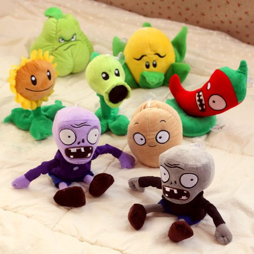 "Lujex ® PVZ 8pcs Set Plants Vs Zombies Stuffed Soft Plush Toy Doll Shooter Nut Flower 12"" 6"" 8.5"""