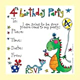 Rachel Ellen Set of 8 Children's Party Invitations - 4th Birthday Party Boy Invites
