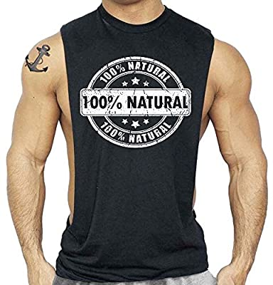 Men's 100% Natural Workout T-Shirt Budybuilding Tank Top Black S-3XL