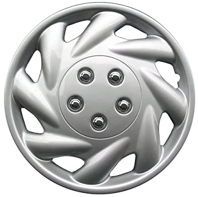 Drive Accessories Silver and Lacquer ABS Plastic Wheel Cover Replica Hubcaps, (Set of 4)