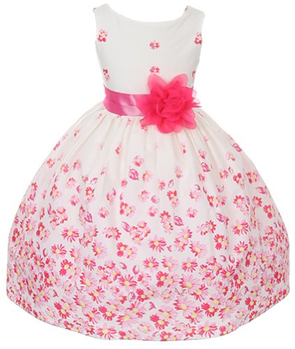 100% Cotton Floral Spring Easter Flower Girl Dress In Fuchsia Daisy - 6 front-1024127