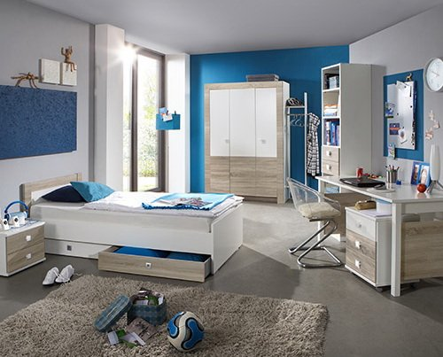 Jugendzimmer 3-tlg. in Weiß mit Absetzungen in Eiche-sägerau, Kleiderschrank B: ca. 135 cm, Bett 90 x 200 cm Liegefläche, Schreibtisch B: ca. 140 cm