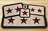 Earth Rugs 86-344BS Burgundy Stars Design Rectangle Wicker Weave Placemat, 13 by 19