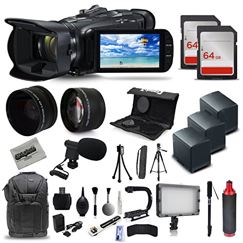 Canon-VIXIA-HF-G40-Full-HD-Camcorder-Mic-3x-Batteries-128GB-Video-Light-Backpack-Case-Tripod-Monopod-XGrip-SD-Reader-Professional-Accessory-Bundle-Kit
