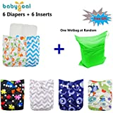 Babygoal Baby Reuseable Washable Pocket Cloth Diaper 6pcs+ 6 Inserts 6fb15